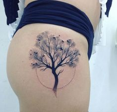 Attractive Tree Tattoo for Girls. The next tattoo on the list offer the cherry blossom, that is one of the most popular form of tree tattoos. in Asian cultures, cheery blossoms are thought to symbolize beauty and that is why these tree tattoos are ideal for the Girls.