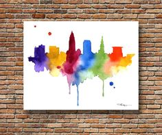 Cleveland Skyline - Abstract Watercolor - Ohio Art Print - Wall Decor    This is a professional quality giclee print from my original hand painted
