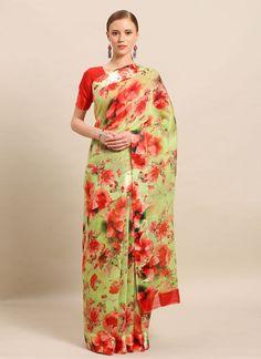 Green Linen Floral Print Saree Floral Print Sarees, Printed Sarees, Floral Prints, Salwar Kameez, Kurti, Celebrity Gowns, Casual Saree, Latest Sarees, Designer Sarees