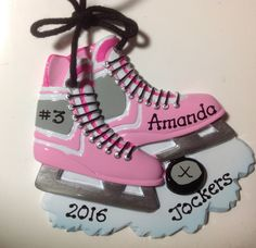 Personalized Christmas Ornament Girl's Hockey Skates, Hockey Puck,Sports, Coach, Team Gift- Free Personalization by KUTEKUSTOMKREATIONS on Etsy