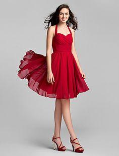 A-line/Princess Halter Knee-length Chiffon Bridesmaid Dress (sd-3128) - BRL R$ 239,37