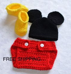 Hey, I found this really awesome Etsy listing at https://www.etsy.com/listing/129397015/baby-boy-mickey-mouse-crochet-outfit