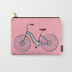 Buy Donut Bicycle Carry-All Pouch by mishimooo. Worldwide shipping available at Society6.com. Just one of millions of high quality products available. Summer Tote Bags, Unusual Presents, Funny Christmas Gifts, Affordable Jewelry, Creative Gifts, Boyfriend Gifts, Gifts For Kids, Carry On, Pouch