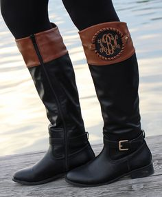 Monogrammed Colorblock Riding Boots! Available in 2 styles on Marleylilly.com! Plus, buy extra personalized discs to change the look without getting a new pair of boots! #outfitgoals