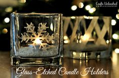 Glass-Etched Votive Candle Holders