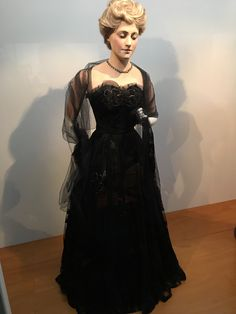 Ball dress and wore of locked and embroidered nylon, late 1950's. Made by Christchurch designer and dressmaker, Isabel Steele of 'Fashion Corner'  Riccarton Rd, Christchurch, New Zealand and worn by Mrs Thelma Todd. Canterbury Museum, Christchurch, New Zealand
