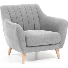 Fauteuil Obo gris clair Scandinavian style armchair upholstered in Miss model fabric.