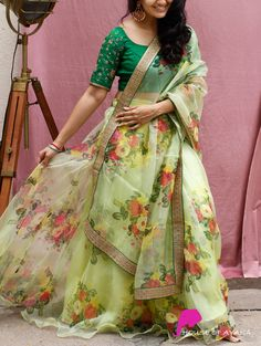 Skirt: Organza Silk, floral printed Blouse: Raw silk with hand embroidered sleeves Dupatta: Organza silk, floral printed with coordinated embroidered borders. Western Wear Dresses, Party Wear Indian Dresses, Designer Party Wear Dresses, Indian Bridal Outfits, Kurti Designs Party Wear, Indian Fashion Dresses, Indian Designer Outfits, Indian Gowns Dresses, Skirt Fashion