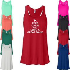 Keep Calm And Love A Great Dane Flowy Tank Top. by Whynotstopnshop