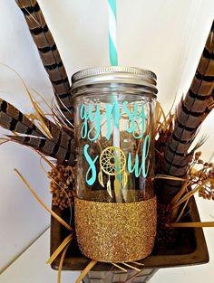 Gypsy Soul Glitter Dipped Mason Jar by HuckleberryDesignsCo