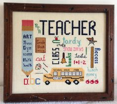 """Vintage 1988 Framed Teacher School Bus Classroom Student ABC Math Reading Academics Counted Cross Stitch Wall Art 9""""x7.5"""" by yourmamashouse on Etsy"""