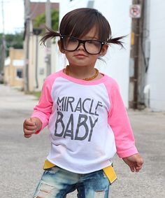 Tink & Key Neon Pink Miracle Baby Raglan Tee from zulily