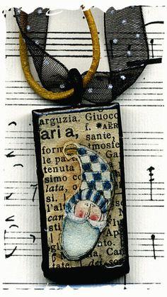 Domino pendant mixed media blue santa by lizziebusyhandmade, $9.00