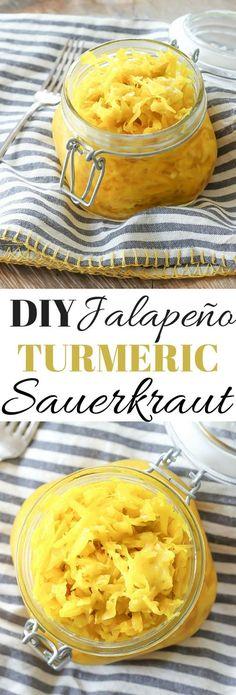DIY Jalapeño Turmeric Sauerkraut Recipe   wickedspatula.com #paleo #healthy