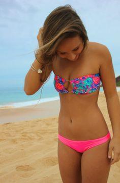 swimwear, neon, bikini, bandeau bikini, pink, floral - Wheretoget