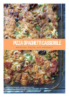 Pizza Spaghetti Casserole (Paleo, and Kid-Friendly), Food And Drinks, Pizza Spaghetti Casserole (Paleo, and Kid-Friendly) – Makanani Meals. Paleo Pizza, Paleo Food, Pcos Food, Yummy Food, Veggie Food, Healthy Food, Paleo Whole 30, Whole 30 Recipes, Paleo Dinner