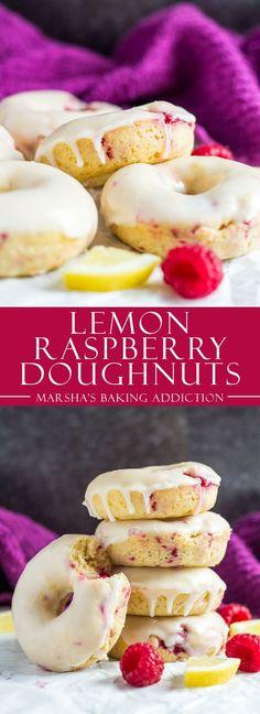 Baked Lemon Raspberry Doughnuts | marshasbakingaddiction.com @marshasbakeblog