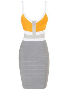 Cheap Fashion Ellie Orange And Grey Colourblock Halter Bandage Dress HL435,Herve Leger V-Neck Dress For Sale with free shipping! ($178.00) - Svpply