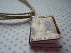 ROMEO AND JULIET BOOK CHARM  multi-strand cotton necklace £8.00