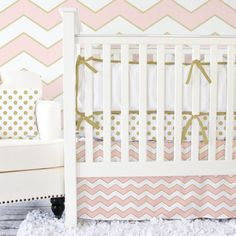Metallic Coral And Gold Chevron Baby Bedding Set