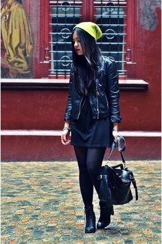 Black-h-m-dress-yellow-neon-beanie-h-m-hat-black-leather-biker-h-m-jacket