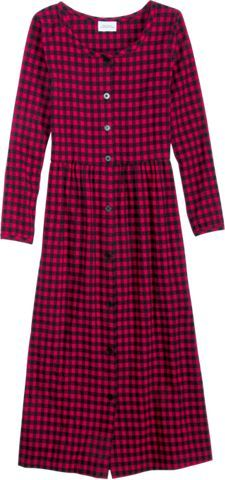 Womens empire-waist dress made with cotton flannel features gentle pleats at the waist, an easy button front, and scoop neckline with self piping. Our womens cotton flannel dress provides warmth during a chilly fall or winter days.