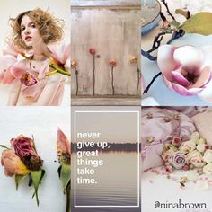 Never give up, great thing take time. Beautiful Collage, Beautiful Images, Collages, Great Things Take Time, Pot Pourri, Word Collage, Mood Colors, Color Of Life, Color Combos