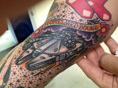 Traditional Millennium Falcon Star Wars tattoo by Johnny Awesome at Smoking Guns…
