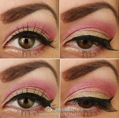 That eyebrow scares me a little, but I love the pink and gold makeup!