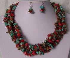 Red Brown Blue 5 Strand Western Turquoise Stone Semiprecious Semi Precious Necklace Set