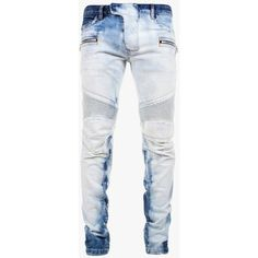 Balmain Slim-fit stretch bleached cotton biker jeans ($1,230) ❤ liked on Polyvore featuring mens, men's clothing y men's jeans