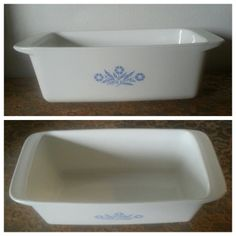 Vintage Corning Ware Cornflower Blue Loaf Pan (or similar ceramic loaf pan)