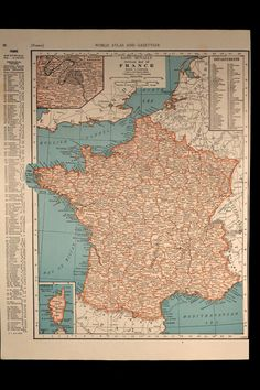 Vintage Map France 1940s Original 1945 by VintageBooksPaper