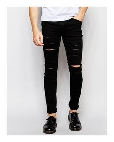 D&H Men Skinny Fit Biker Ripped Faux Leather Knees Jeans - Black ...