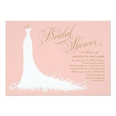 Elegant bridal shower invitation and stationery for the stylish bride-to-be features an ornate calligraphy script font and flowing wedding gown. White, light coral peach / blush pink, and antique gold design colors. Gold Wedding Gowns, Pink And Gold Wedding, Elegant Wedding Gowns, Blush Pink Weddings, Elegant Gown, Aqua Wedding, Wedding Wall, White Bridal, Wedding Set