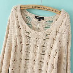 Holed O-neck Long Sleeves Loose Sweater