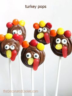 chocolate turkey pops for Thanksgiving