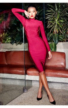 de6dd4b2a51d Clothing : Bandage Dresses : 'Ines' Wine Bandage Long Sleeve Dress Long  Sleeve Bandage