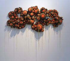 Congregate; fabric, beads, mixed media; Laura Bell