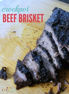 This Crock Pot Beef Brisket Recipe is so easy to make!  You can even make the sauce and the rub the night before!