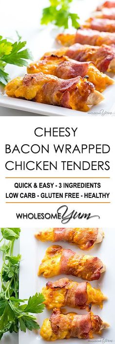 Keto Baked Bacon Wrapped Chicken Tenders Recipe – 3 Ingredients - This easy baked bacon wrapped chicken tenders recipe needs just 3 common ingredients - chicken, bacon, and cheese! Ready in under 30 minutes. Vegan Keto, Frango Bacon, Baked Bacon Wrapped Chicken, Chicken Bacon Wrap, Bacon Wrapped Appetizers, Cetogenic Diet, Low Carb Recipes, Cooking Recipes, Easy Recipes
