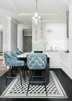 baby blue tufted kitchen bar stools stunning white marble add a touch of luxury with velvet decor decorating your apartment decor trends 2018 - The world's most private search engine Interior Design Trends, Interior Design Kitchen, Home Design, Design Ideas, Design Design, Modern Interior, Design Bathroom, Design Color, Modern Decor