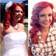 A glowing and beautiful bride on her wedding day thanks to Head Candy Weddings! Bright red color and highlights with custom colored Hotheads extensions that you can see detailed in a few previous posts!! Wedding day hair with just a few white flowers to accentuate the glamorous waves! All of the magical hair was done by our talented Master Stylist Kristin! #salonheadcandy ❤️
