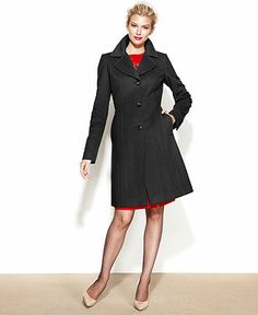 Anne Klein Coat, Double-Breasted Cashmere-Blend Belted Walker ...