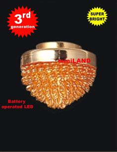 Ceiling brass SUPER bright battery operated LED LAMP Dollhouse miniature light
