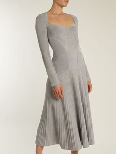 Click here to buy Alexander McQueen Sweetheart-neck long-sleeved wool-blend dress at MATCHESFASHION.COM
