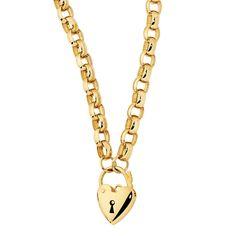 "10ct Yellow Gold Heart Padlock 45cm (18"") Belcher Chain"