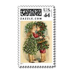 Victorian Christmas Kiss Postage  Beautiful images lovingly restored for your holidays!  Vintage postcards restored for your Holidays! Enjoy memories of times gone by and make new ones this year!