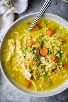 The BEST chicken soup you'll ever eat is the best homemade nourishing healthy soup when you're feeling under the weather. Packed with anti-inflammatory ingredients like ginger, turmeric, garlic. This is the BEST CHICKEN SOUP RECIPE EVER! Best Chicken Soup Recipe, Chicken Recipes, Chicken Soups, Chicken Soup For Colds, Chicken Lentil Soup, Healthy Chicken Soup, Garlic Chicken, Chicken Vegetable Noodle Soup, Chicken Soup Seasoning
