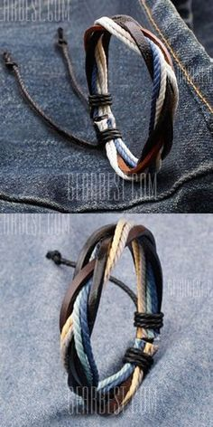 Retro Faux Leather Rope Twisted Bracelet For Men More